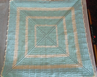 Mint Green and Cream Crocheted Baby Blanket - Crocheted Baby Afghan- Crocheted Mint Green Lap Blanket - 38x38 Green and Cream Blanket