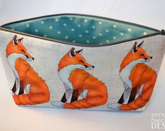 Fox Toiletry Wash Bag / Makeup Bag / Pencil Case / Zip Bag