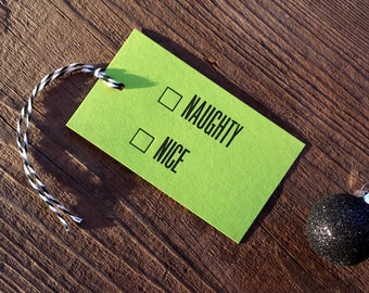 Naughty Nice Letterpress Gift Tags - Set of Seven - Neon Green