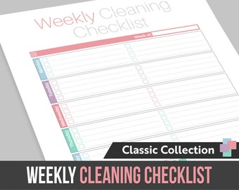 Weekly Cleaning Checklist - Instant Download! PDF format ready to print at home!