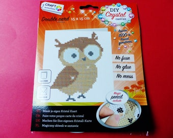 Crystal rhinestone diamond gem card card making Kit double 1500 animal OWL 15 x 15 cm pieces everything is included
