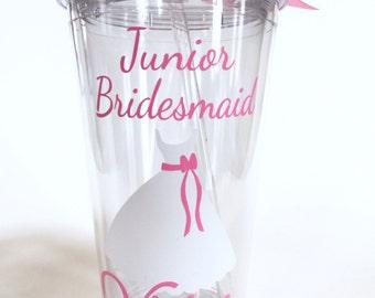 Junior Bridesmaid Personalized Tumbler - Will You Be My Junior Bridesmaid, Bridesmaid Gift, Bridesmaid Proposal - 16 oz Tumbler