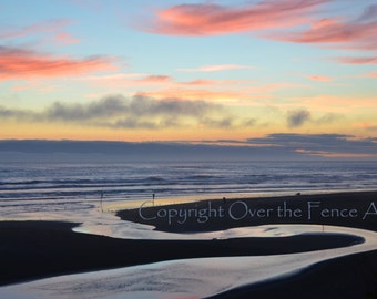 Beach Photography Beach Card Handmade Photo Greeting Card Landscape  Sun Setting  over Copalis Beach