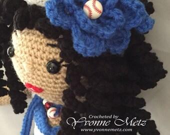 "Ready to SHIP!!   18"" Handmade Crocheted Amigurumi Doll, Sports Doll, Baseball, Dodger, Girls -"
