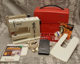Fabulous 1970's vintage BERNINA 830 Record sewing machine bundle w/ 15 presser feet, manual, books, case, pedal, and more