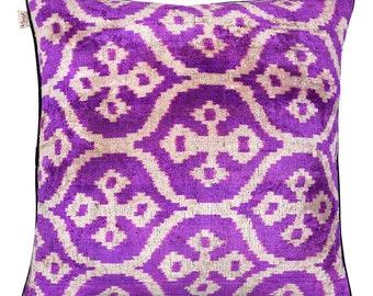 velvet ikat pillow ( 20 x 20  inches ) ( 50 x 50 cm )