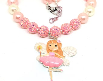 Fairy Necklace -Pink Bubblegum Necklace - Little Girls Jewelry - Sparkly Necklace for Girls - Girls Cake Smash Accessories - Bubblegum -