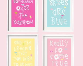 Somewhere Over The Rainbow Girl Nursery Art Prints Lahaina Colors 11x14 in  by YassisPlace