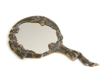 Vanity mirror, art deco mirror, pierrot, hand mirror, Art nouveau mirror, make up mirror, brass mirror, antique mirror, moon mirror,