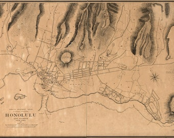 Poster, Many Sizes Available; Map Of Honolulu Hawaii 1887