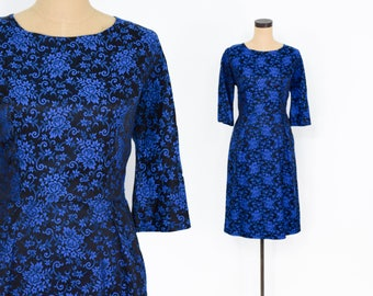 50s Blue Brocade Dress | Floral Wiggle Party Dress | Medium