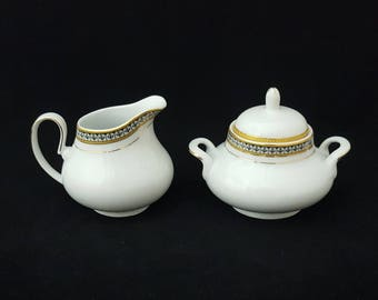 Adeline Porcellana Italy Creamer and Sugar Bowl, Bright White Fine Bone China with Gold & Silver Tulips ~ Vintage 1970's
