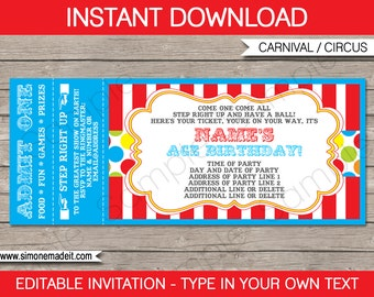 Ticket invitation etsy carnival party ticket invitation template birthday party invite instant download with editable text stopboris Choice Image