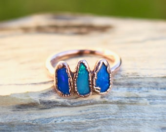 Opal Ring - Raw - Handmade - Copper - Natural - Electroformed - Opals - Uk ring size O, US size 7 1/2
