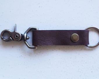 Men's Christmas Gift // simple mens leather key fob // brass key chain // gift for him // boyfriend present