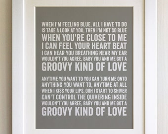 FRAMED Lyrics Print - Phil Collins, Groovy kind of love - 20 Colours options, Black/White Frame, Wedding, Anniversary, Valentines, Picture