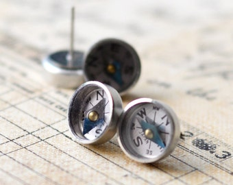 Working Compass Earrings, Surgical Steel Stud Earrings, Tiny Mini Compass Studs, Traveler Geek Tech Gift, Under 15 Dollars, Geek Nerd gift