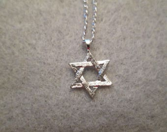 Solid Sterling Silver STAR of DAVID necklace>>Jewish Star>>Vintage 1950's> New old stock, never worn>> Small and Dainty