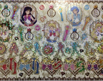 Sailor Moon 20th Anniversary Large Shiny Stickers in Cardboard Holder - Type 5 Jewel - Reference A6098