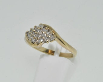 9ct yellow gold boat shaped diamond cluster ring size K Sheffield 1996