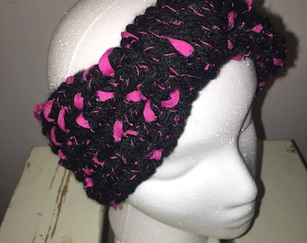 Black and Pink Knotted Ear Warmer