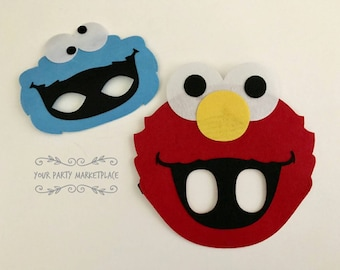 SET 2 Elmo & Cookie Monster Party Masks,Elmo Party,Elmo Party Favors,Cookie Monster Party,Cookie Monster Party Favors,Sesame Street Birthday