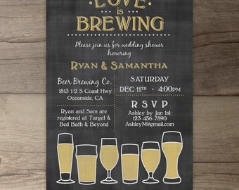 Love is Brewing • Wedding Shower •Engagement Party • Chalkboard Brewery Invitation • printable Invitation