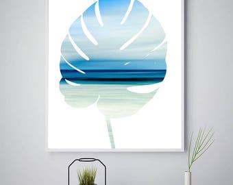 Palm Leaf Print, Palm Leaf Art, Palm Frond Art, Beach Photography, Beach Picture, Beach Home Decor, Beach Wall Art, Printable Palm, Ocean