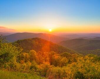 Shenandoah Sunrise Photography - Shenandoah National Park - Blue Ridge Mountains - Virginia Print - Landscape Photography