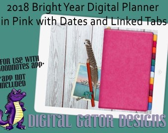 2018 Bright Year in Pink Digital Planner with Linked Tabs and Dates