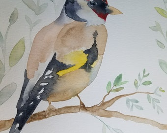 Goldfinch original watercolor painting, 9x12 inches, The Wandering Heron