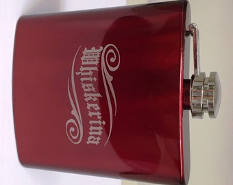 Whiskerina - 6 oz Stainless Steel Flask, Custom Engraved, Personalize for Great Gifts