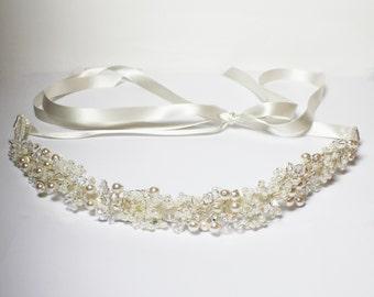 Beaded bridal sash, Pearl and Crystal beaded belt, beaded bridal belt, wedding accessories bridal crystal belt, wedding belt, wedding sash.