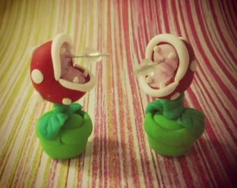 Pair of earrings of the plant carnivorous Piranha from Mario Bros Nintendo Earrings Carnivorous Piranha Plant Mario Bros fimo polymer clay