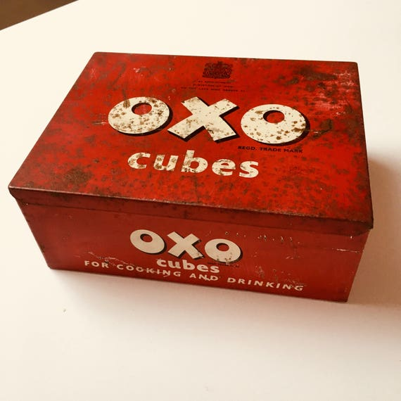 Vintage Red Oxo Tin Cubes Storage 1950s Kitchen