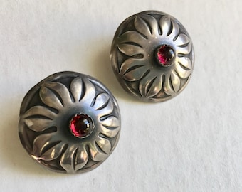 vintage sterling concho earrings with red stones