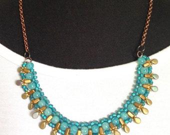 women beaded necklace handmade beaded blue necklace bib statement boho necklace