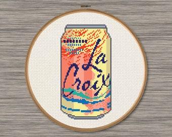 La Croix Peach-Pear Soda Can - PDF Cross Stitch Pattern