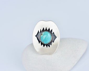 Shark Bite Ring, Turquoise Shadow Box Ring, Turquoise Ring, Ocean Inspired, Shark Jaws, Sterling Silver, Mermaid Jewelry, Shark Jewelry