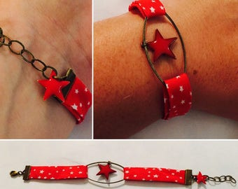 Bracelet obliquely Liberty Star Red and white