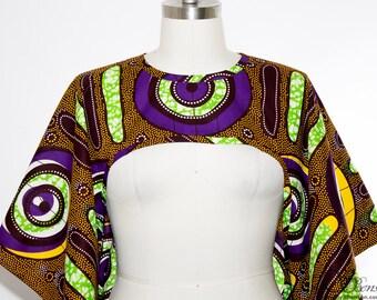 African Print Shrug Purple - One Size
