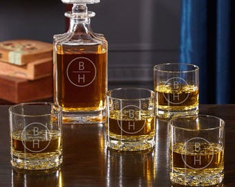 Personalized Emerson Whiskey Decanter Set - Perfect Gift for Couples Bachelors Engagements Anniversaries Groomsmen Housewarming