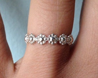 """Sterling Silver """"Daisy"""" Embossed Stacking Ring - wear as a knuckle ring - custom made to order"""