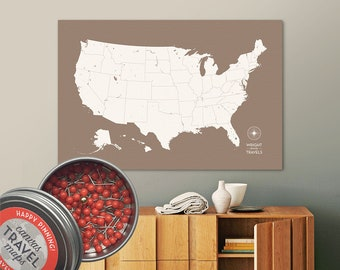 Push Pin USA Map (Earth) Travel Map Push Pin Map Travel Gift Road Trip Map of the USA on Canvas Personalized Gift For Family Name Sign