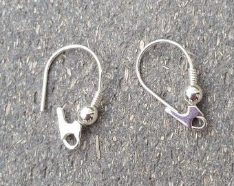 Sterling Silver Earring Wires - Fancy Kidney Ear Wires, Jewelry Supply Earwires with bead and coil design Secure Hooks Stamped 925 (1 pair)