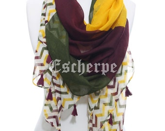 Chevron Scarf Yellow Wine Green Zigzag Tassel Spring Summer Accessory Woman Accessory Gifts For Her Fashion Gift Ideas