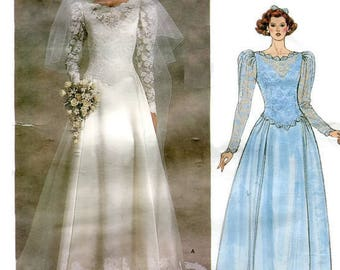 1980s Vogue 1519 Bridal Original Wedding Dress and Petticoat Sewing Pattern Size 14 Bust 36 UNCUT