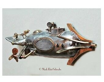 S P Nautilus steampunk submarine sculpture, interactive - 4 moving parts