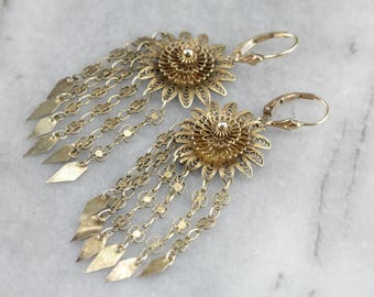 Pretty Quilled Filigree Drop Earrings, Floral Earrings, Drop Earrings XMU69YPP-R