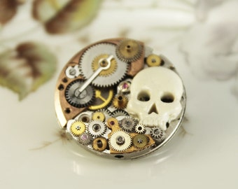 Steampunk brooch  with old gears and skull, vintage style, unique piece